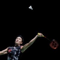 Japan's Kento Momota in action during his men's singles final against Denmark's Anders Antonsen at the Badminton World Championships in Basel, Switzerland, in August 2019. | REUTERS