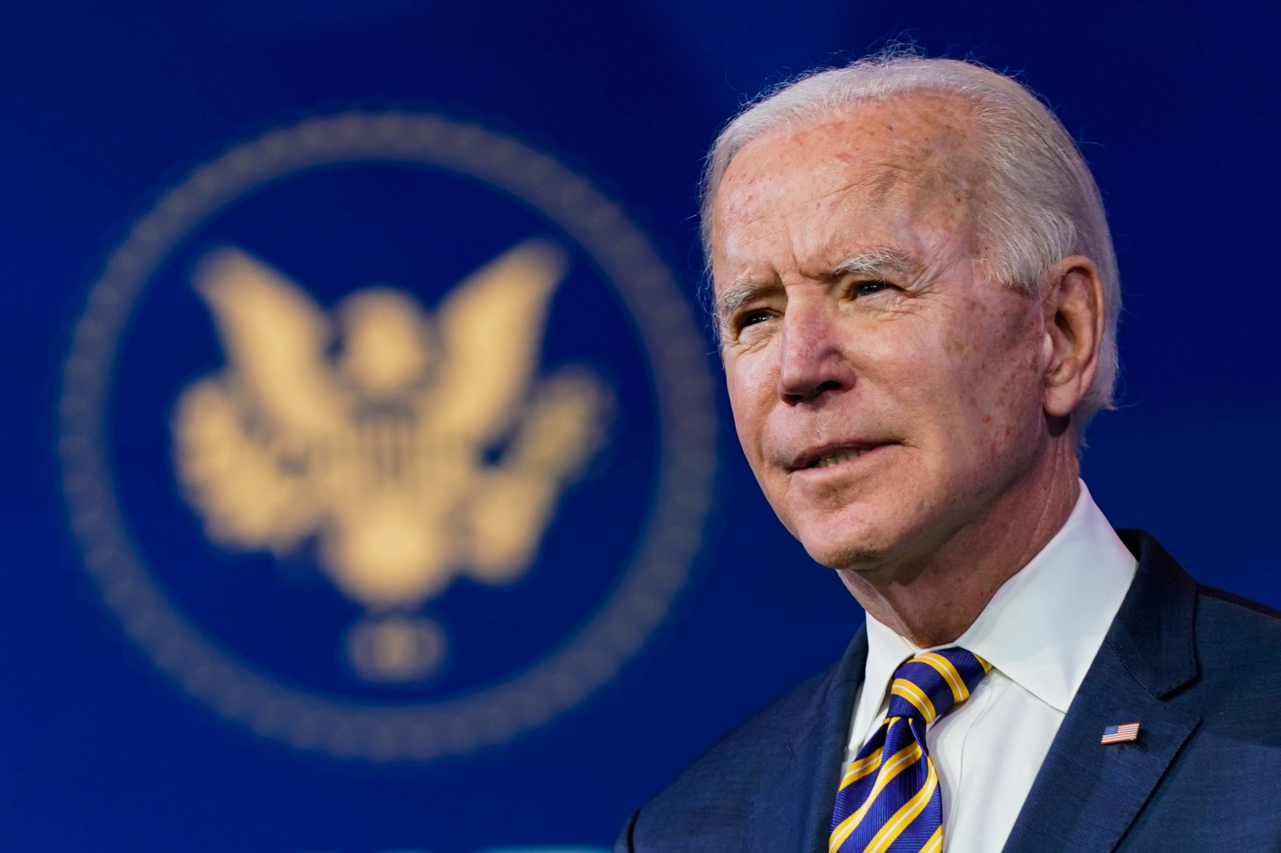 U.S. President-elect Joe Biden speaks about the coronavirus pandemic, at The Queen Theater in Wilmington, Delaware, on Dec. 29.  | AMR ALFIKY/THE NEW YORK TIMES