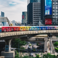 An elevated train in Bangkok promotes the J. League during a late 2020 advertising campaign. National interest in the J. League is at 50% in Thailand, more than the 30% reported in Japan. | COURTESY OF THE J. LEAGUE