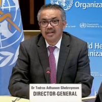 World Health Organization Director-General Tedros Adhanom Ghebreyesus speaks during a news briefing on COVID-19 via video link from the WHO headquarters in Geneva. | WORLD HEALTH ORGANIZATION / VIA AFP-JIJI