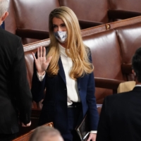 Senator Kelly Loeffler, a Republican from Georgia, arrives in the House Chamber for a joint session of Congress to count the Electoral College votes of the 2020 presidential election in Washington on Wednesday. | BLOOMBERG