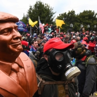 Protesters near the Capitol building in Washington on Wednesday | AFP-JIJI