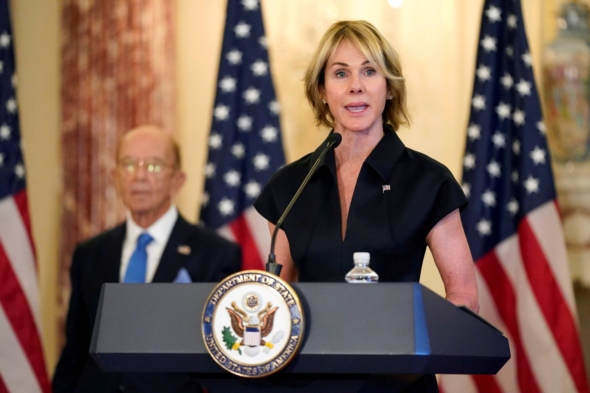 U.S. Ambassador to the United Nations Kelly Craft speaks during a news conference at the U.S. State Department in Washington in September. | POOL / VIA REUTERS