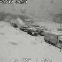 Vehicles are stranded on the Hokuriku Expressway in Fukui Prefecture on Sunday. | CENTRAL NIPPON EXPRESSWAY CO. / VIA KYODO