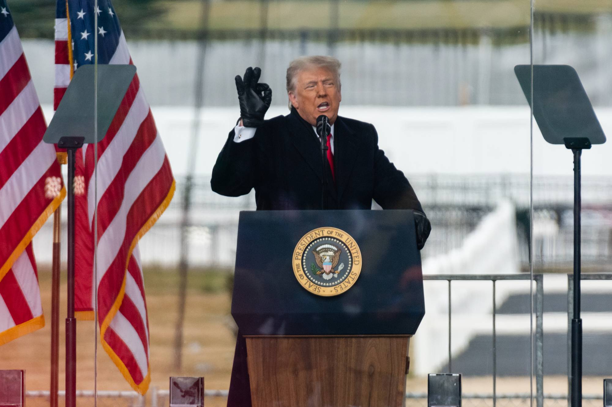 U.S. President Donald Trump speaks during the 'Save America Rally' near the White House in Washington on Wednesday. | BLOOMBERG