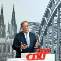 Armin Laschet, North Rhine-Westphalia's state premier and state chairman of the Christian Democratic Union, speaks in Cologne, Germany, on Saturday during the party's virtual new year reception. Leadership candidates, including Laschet, are all currently unpopular with German voters ahead of 2021 national elections. | POOL / VIA AFP-JIJI