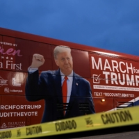 The March for Trump bus in Macomb County, Michigan, in December  | REUTERS