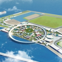 An artist's rendering shows the proposed venue for Osaka-Kansai Japan Expo 2025. | JAPAN ASSOCIATION FOR THE 2025 WORLD EXPOSITION / VIA KYODO