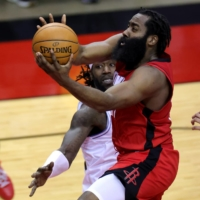Rockets guard James Harden attempts a shot against the Lakers during their game in Houston on Jan. 10. | USA TODAY / VIA REUTERS