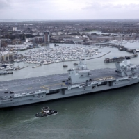 British aircraft carrier HMS Queen Elizabeth in November 2017 in Portsmouth, England