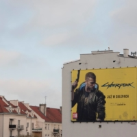 A billboard displays an advertisement for Cyberpunk 2077 in Gdynia, Poland. | REUTERS