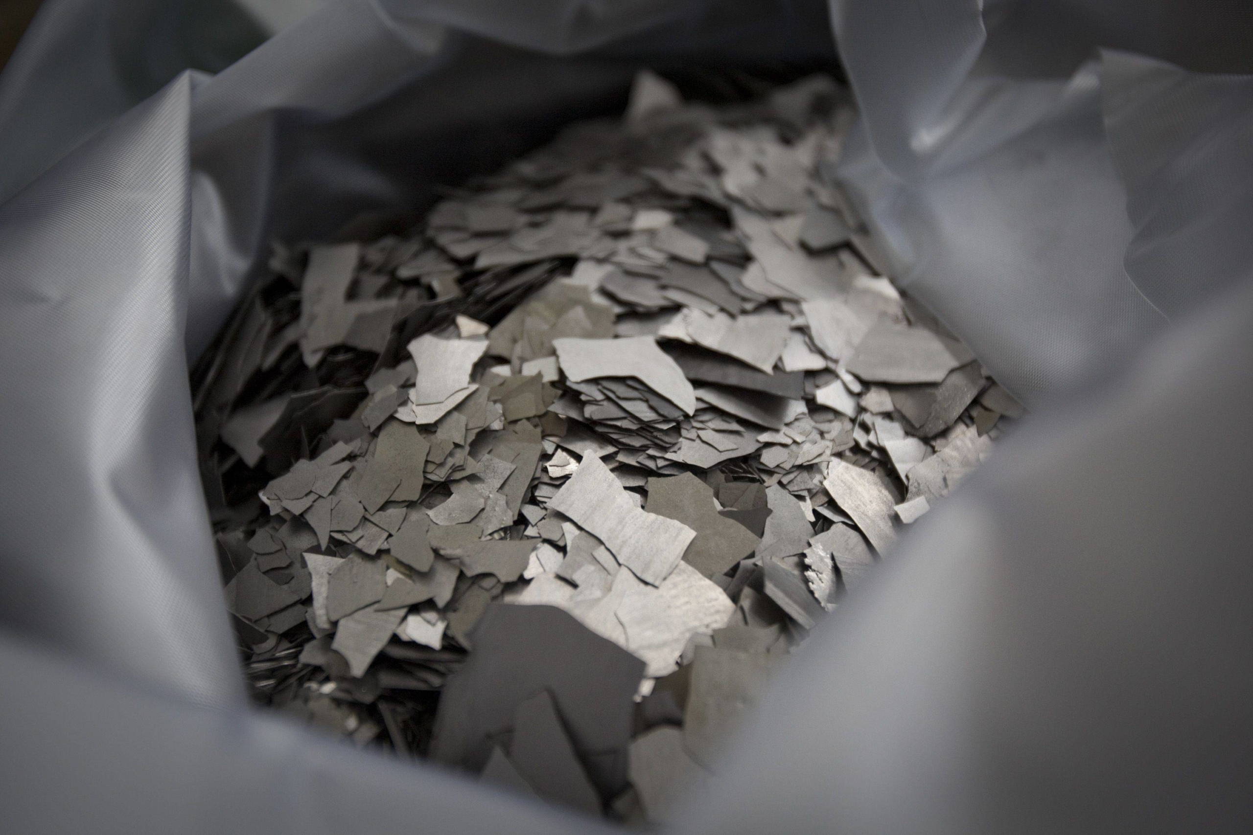 Neodymium is displayed at the Inner Mongolia Baotou Steel Rare-Earth Hi-Tech Co. factory in Baotou, Inner Mongolia, China, in May 2010.  | BLOOMBERG