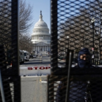 Capitol police secure an area of Washington on Saturday ahead of U.S. President-elect Joe Biden's Wednesday inauguration.  | REUTERS
