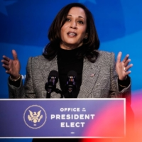 Vice President-elect Kamala Harris speaks at the Queen Theater in Wilmington, Delaware, on Saturday. | AMR ALFIKY / THE NEW YORK TIMES