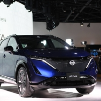 A Nissan Motor Co. Ariya electric crossover SUV on display in Yokohama in July | BLOOMBERG
