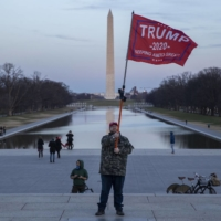 A supporter of U.S. President Donald Trump at the Lincoln Memorial in Washington on Thursday  | BLOOMBERG