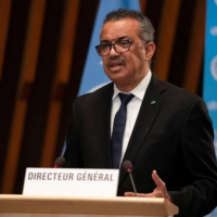 Tedros Adhanom Ghebreyesus, director general of the World Health Organization, speaks about the COVID-19 pandemic in Geneva on Monday.  | WHO / VIA REUTERS