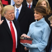 Donald Trump is sworn in as president on Jan. 20, 2017 at the U.S. Capitol in Washington. | AFP-JIJI