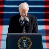 U.S. President Joe Biden delivers his inauguration speech Wednesday at the Capitol in Washington.  |  POOL / AFP-JIJI