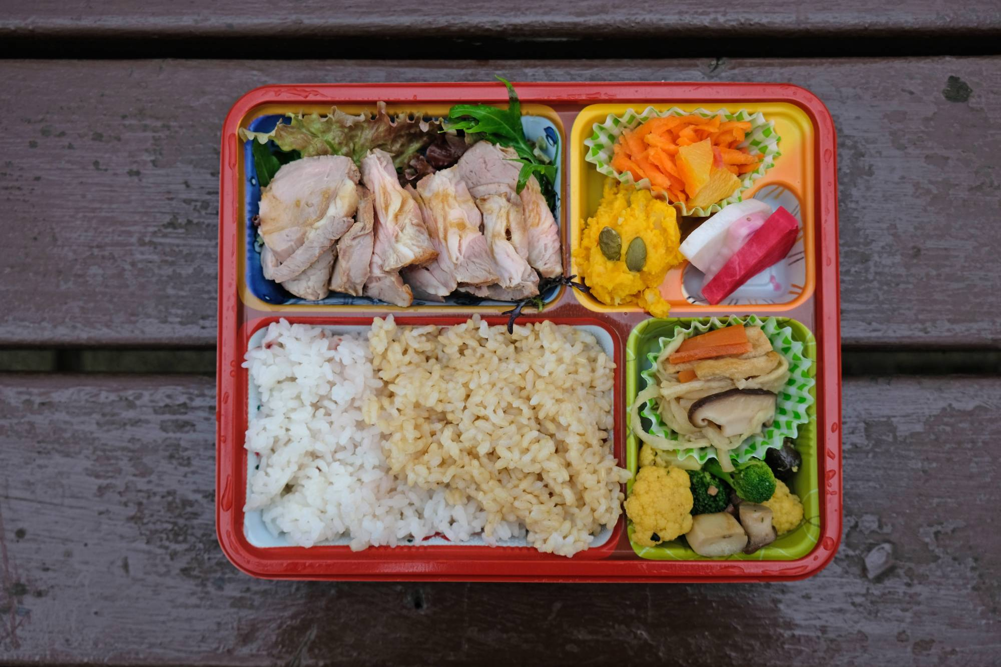 Set bento: Niwa-Coya's takeout higawari (meal of the day) comes with two kinds of rice, a main and several seasonal sides. | CLAIRE WILLIAMSON