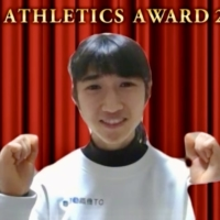 Nozomi Tanaka poses during an online news conference on Thursday after receiving the best newcomer award from the Japan Association of Athletics Federations. | KAZ NAGATSUKA