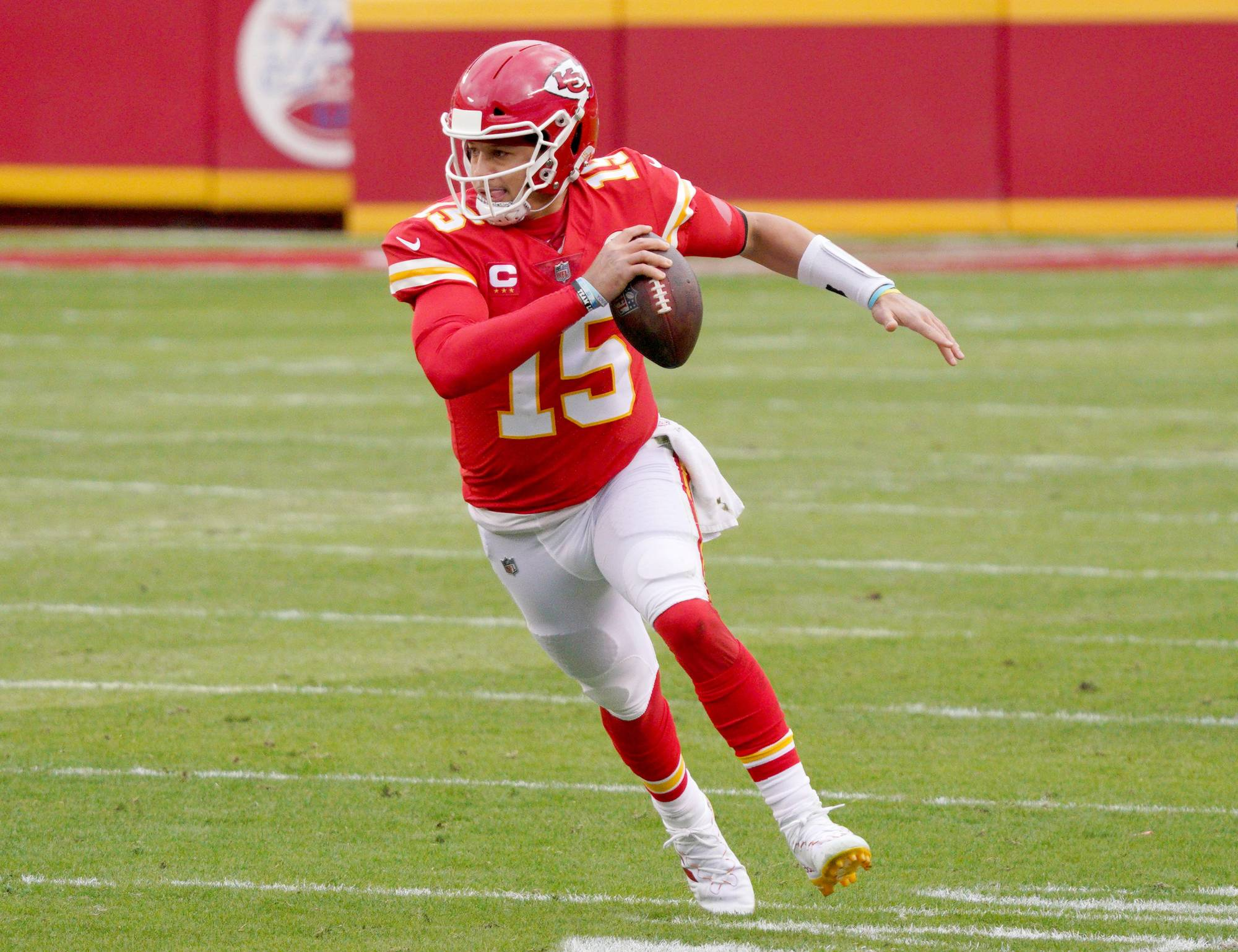 Chiefs quarterback Patrick Mahomes runs with the ball during the second half of a playoff game against the Browns in Kansas City, Missouri, on Jan. 17. | USA TODAY / VIA REUTERS