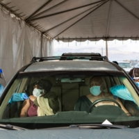 A drive-thru coronavirus vaccine site in Lake Elsinore, California | ALEX WELSH / THE NEW YORK TIMES