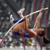 Greece's Katerina Stefanidi competes in the women's pole vault competition during the IAAF World Athletics Championships at Khalifa International Stadium in Doha on Sept. 29, 2019. | USA TODAY / VIA REUTERS