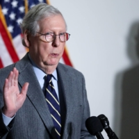 U.S. Senate Minority Leader Mitch McConnell speaks to reporters on Tuesday.  | REUTERS