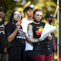 Protesters gather at The Domain for an 'Invasion Day' demonstration on Australia Day in Sydney on Tuesday. | AFP-JIJI
