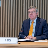 IOC President Thomas Bach hosts a meeting of the executive board at the Olympic House in Lausanne, Switzerland, on Wednesday. | GREG MARTIN / IOC / VIA REUTERS