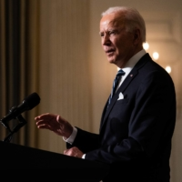 U.S. President Joe Biden delivers remarks at the White House on Wednesday about his administration's response to climate change. | ANNA MONEYMAKER / THE NEW YORK TIMES