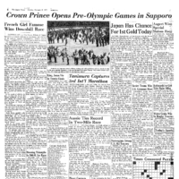 Japan Times 1971: Crown Prince opens pre-Olympic Games in Sapporo