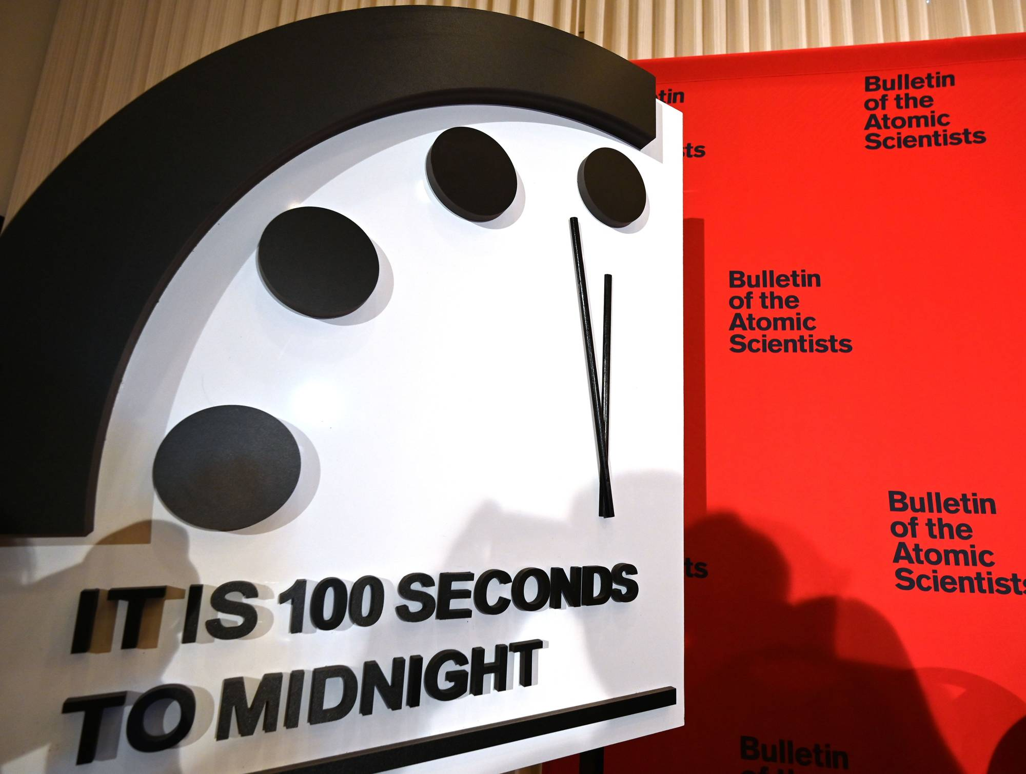 The 'Doomsday Clock' reads 100 seconds to midnight in January last year. | AFP-JIJI