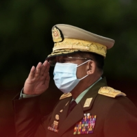 Myanmar's Army Chief Min Aung Hlaing salutes during the Martyrs' Day ceremony in Yangon, Myanmar, on July 19, 2020. | POOL / VIA REUTERS