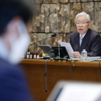NHK President Terunobu Maeda holds a news conference earlier this month in Tokyo. | KYODO