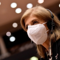 European Health Commissioner Stella Kyriakides arrives for a plenary session on the EU global strategy on COVID-19 vaccinations at the European Parliament in Brussels on Jan. 19.  | POOL / VIA REUTERS