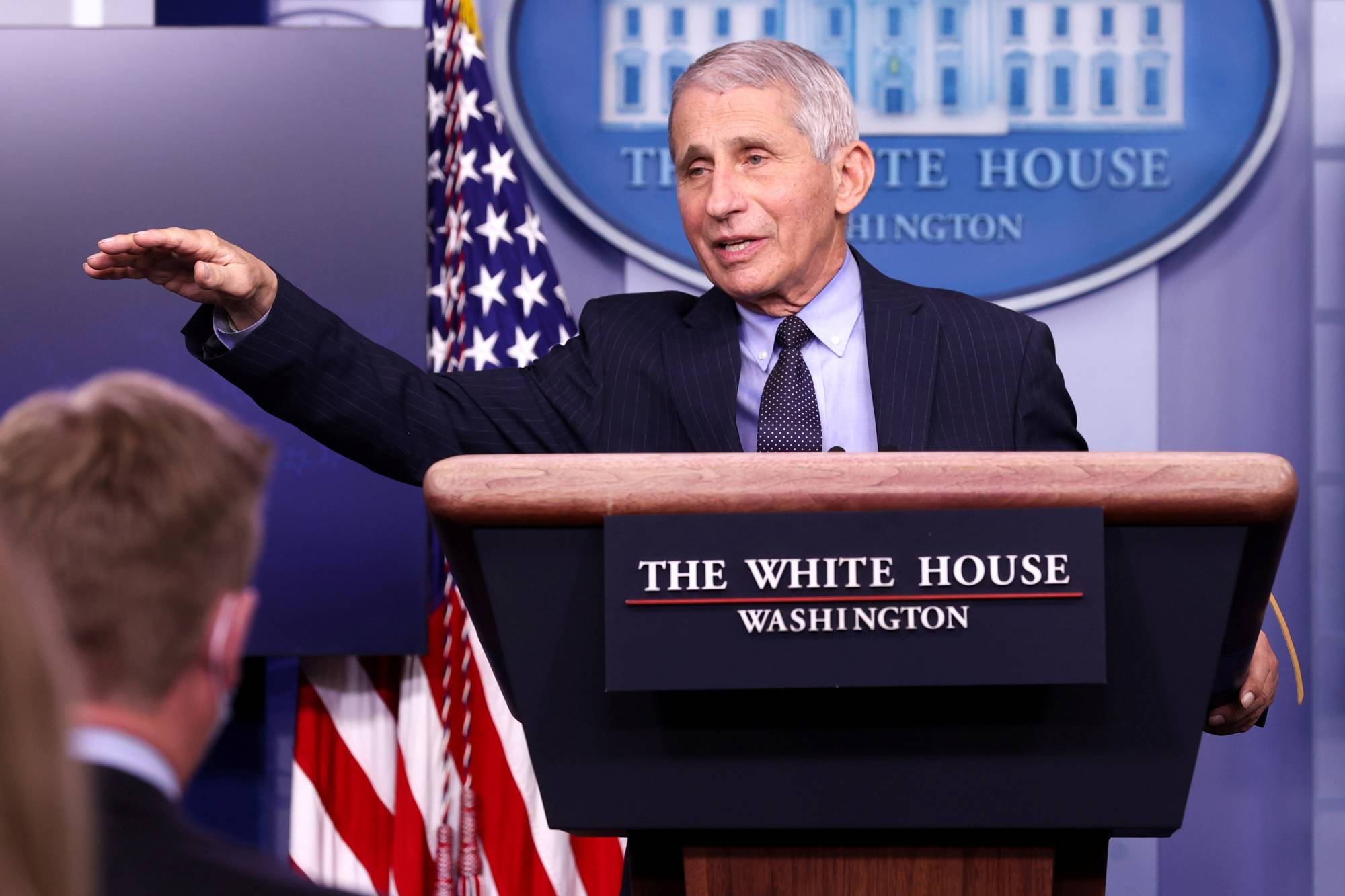 National Institute of Allergy and Infectious Diseases Director Anthony Fauci addresses a news briefing at the White House on Thursday.  | REUTERS