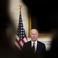 U.S. President Joe Biden talks during an executive order signing ceremony at the White House on Wednesday. The United States on Thursday carried out an airstrike in eastern Syria against structures belonging to what the Pentagon said were Iran-backed militias responsible for recent attacks against American and allied personnel in Iraq. | DOUG MILLS / THE NEW YORK TIMES