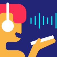 Voice chat. Girl records message on her phone in messenger. Person holds smartphone in her hands with microphone to herself. Vector flat abstract illustration on blue background. Sound waves (Voice chat. Girl records message on her phone in messenger. | GETTY IMAGES