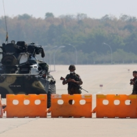 A military checkpoint on the way to the congress compound in the Myanmar capital of Naypyitaw on Monday | REUTERS
