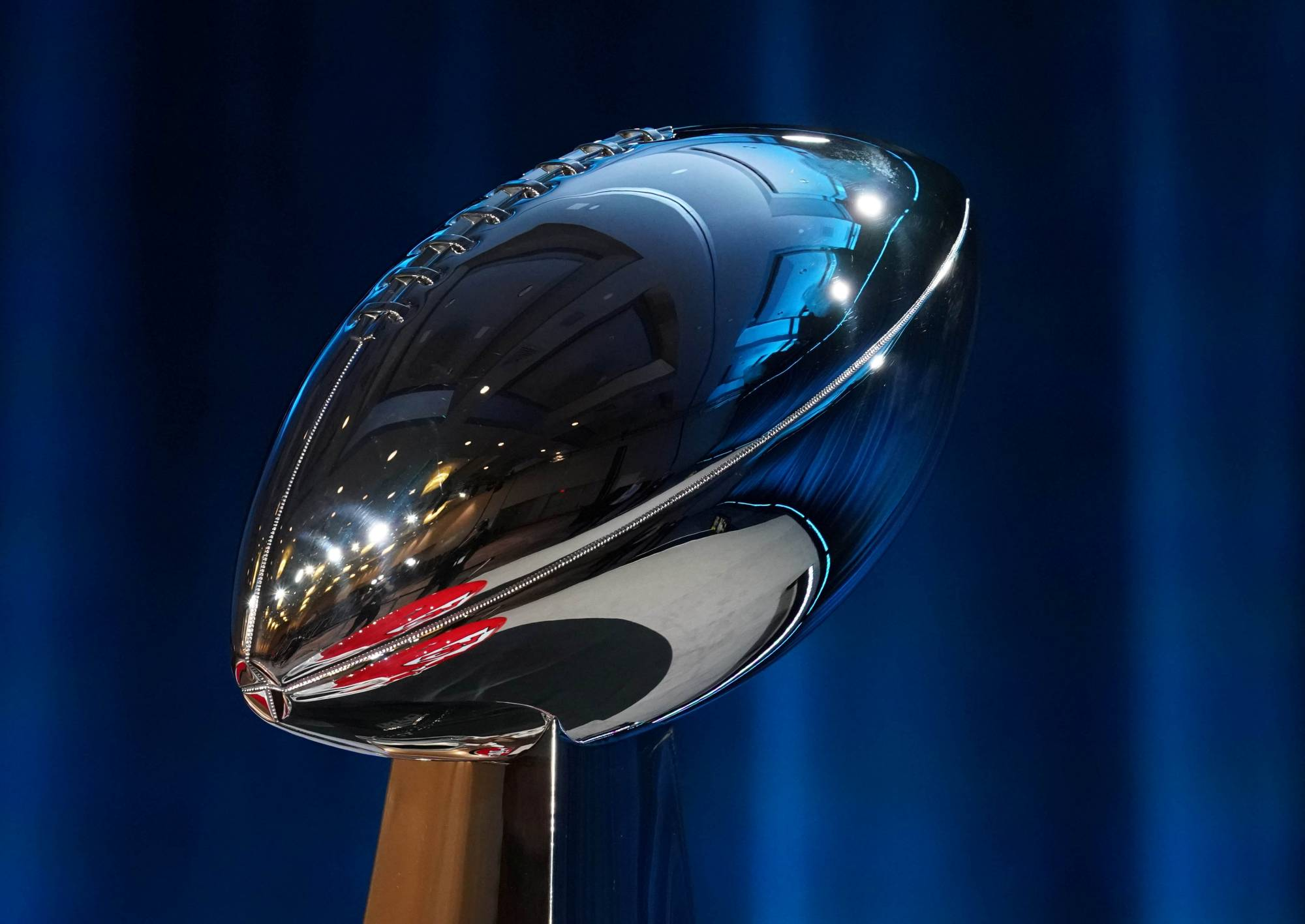 The Vince Lombardi Trophy is displayed during a news conference before Super Bowl LIV at Hilton Downtown in Miami in January last year. | USA TODAY / VIA REUTERS