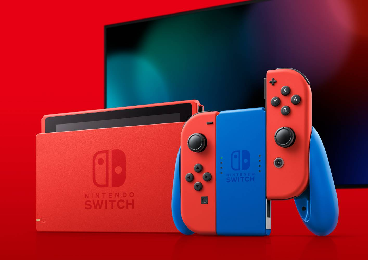 True red and blue: To celebrate Super Mario Bros.' 35th anniversary, the Switch console is getting a new Mario-themed look. | © 2021 NINTENDO