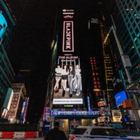 Digital music service Spotify displays art from an album by Blackpink on a billboard in Times Square, New York, in October 2020. | BLACKPINKOFFICIAL (@BLACKPINK) / VIA TWITTER