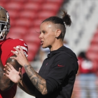 San Francisco assistant Katie Sowers, seen during the 2019 preseason with running back Raheem Mostert, became the first woman to coach in a Super Bowl last season. | USA TODAY / VIA REUTERS