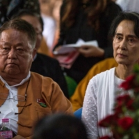 Win Htein, chief executive committee member of the National League for Democracy (NLD) and a key aide to Myanmar's State Counselor Aung San Suu Kyi, in August 2017. Win Htein was arrested Friday, days after a military coup.    AFP-JIJI