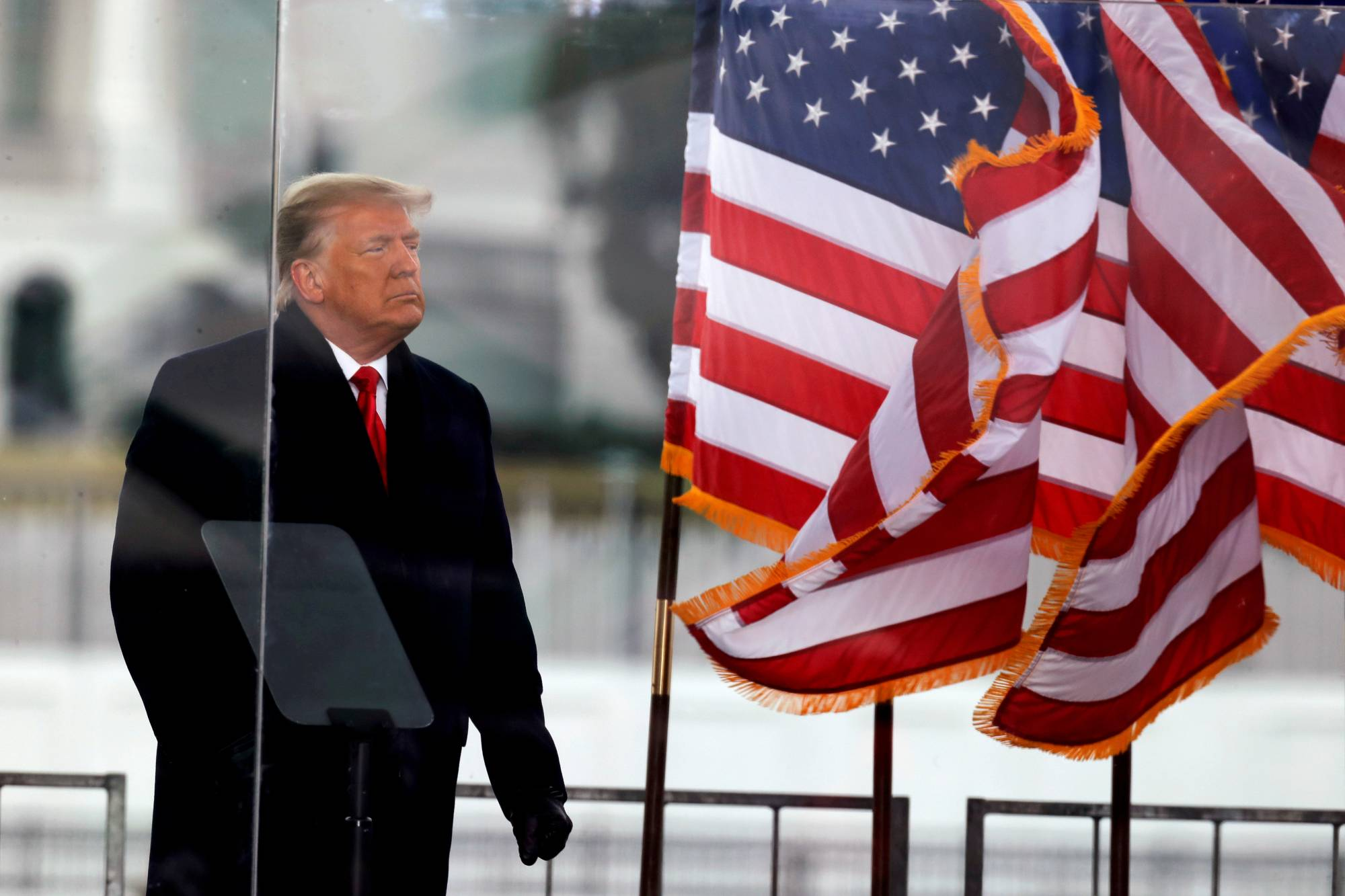 U.S. President Donald Trump looks on at the end of his speech during a rally to contest the certification of the 2020 U.S. presidential election results by Congress in Washington on Jan. 6. | REUTERS
