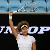 Naomi Osaka celebrates after beating Irina-Camelia Begu in the quarterfinals of the Gippsland Trophy in Melbourne on Friday. | REUTERS