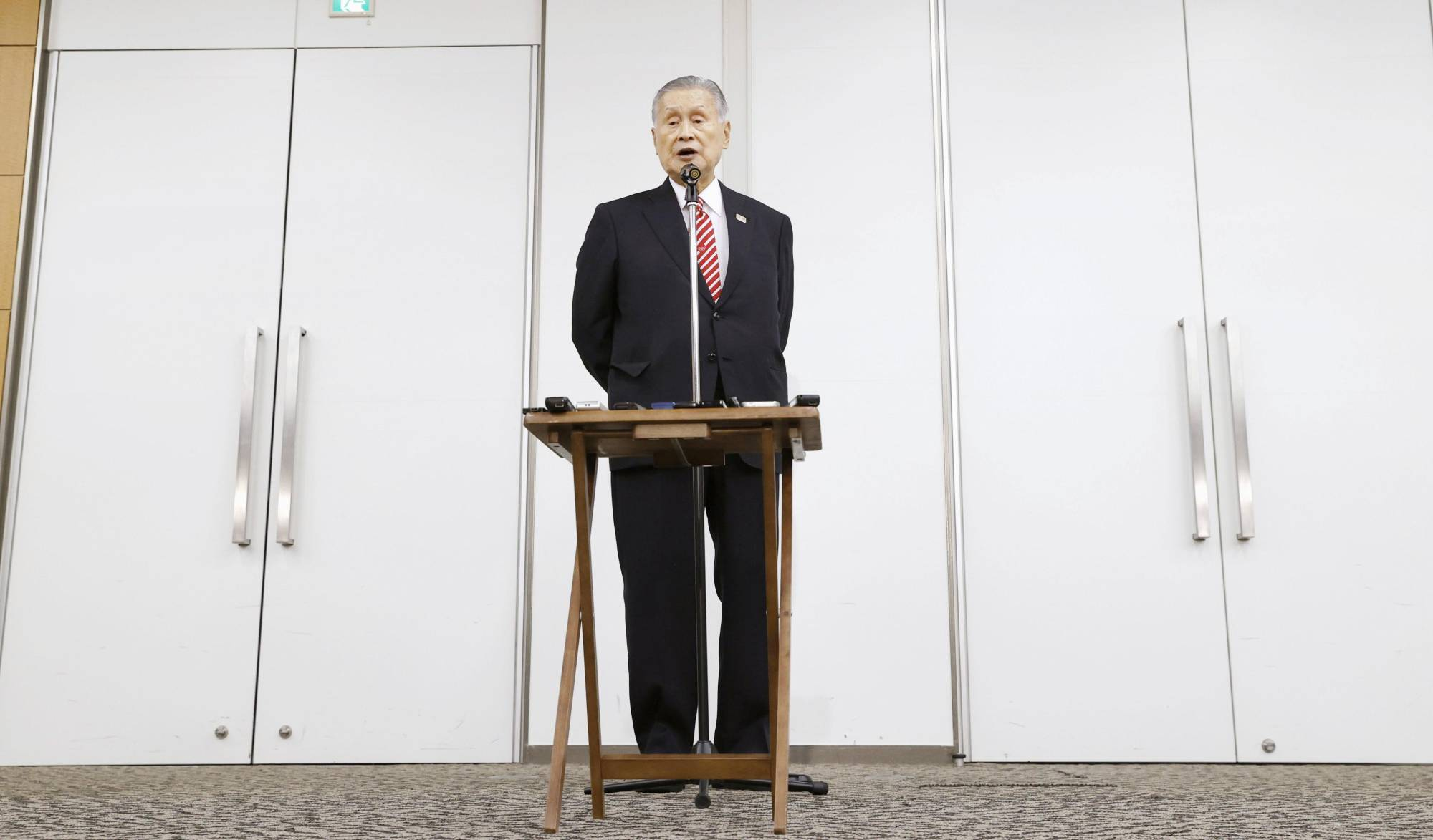 Tokyo 2020 head Yoshiro Mori speaks at a news conference in Tokyo on Thursday. | KYODO