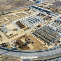 Supplied photo shows Daiwa House Industry Co.'s building site for Japan's largest data-center campus under construction in Inzai, Chiba Prefecture, in December 2020. | KYODO